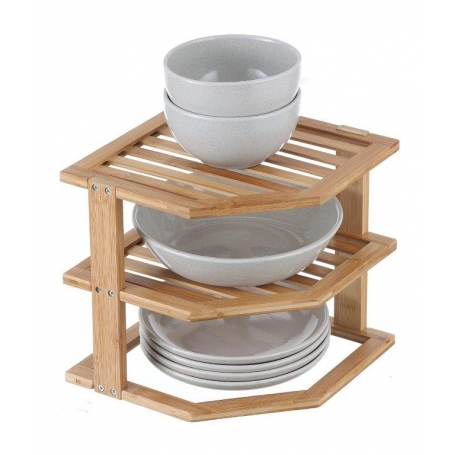 Plate Stand 3 Tier Bamboo