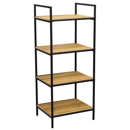 Shelf 4 Tier Black and Bamboo