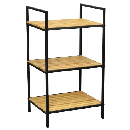 Shelf 3 Tier Black and Bamboo