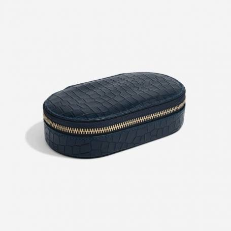 Stackers Travel Jewellery Organiser Oval Navy Croc