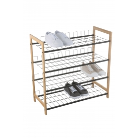 Shoe Rack 4 Tier Black & Bamboo