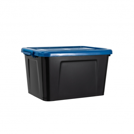 Rolling Box 53L with Lid Black/Blue