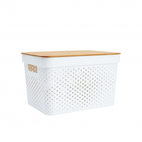 Basket with Bamboo Lid 15L