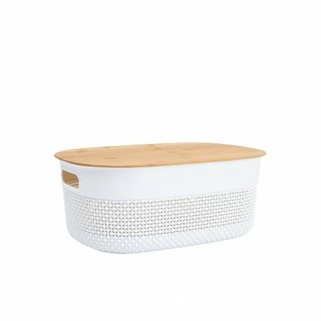 Oval Basket with Bamboo Lid 11.5L