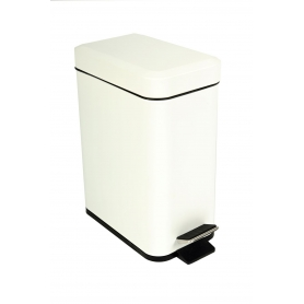 White Rectangular Pedal Bin 5L