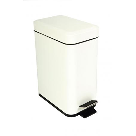 White Rectangular Pedal Bin 5L