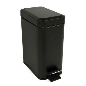 Black Rectangular Pedal Bin 5L