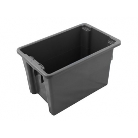 Stack and Nest Bin 68L Black Plastic