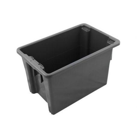 Stack and Nest Bin 68L Black Plastic
